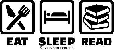 läsa, sömn, äta, ikonen