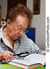 läser, bok, senior, glasögon, medborgare