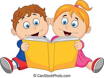 läsning, barn, bok