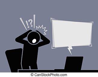 läsning, efter, chockerat, nyheterna, internet., känsla, snopen, man