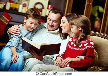 läsning, familj