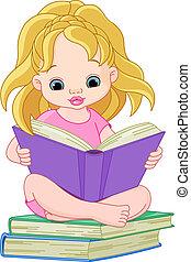 läsning, flicka