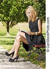 läsning, kvinna, bok, ung