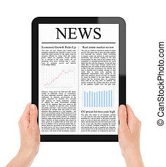 läsning, nyheterna, på, skrivblock persondator