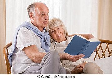 läsning, tillsammans, a, bok