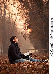 läsning, utanför