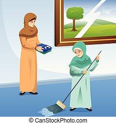lästige arbeit, daheim, moslem, töchterchen, mutter