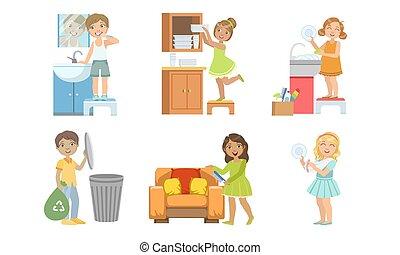 lästige arbeit, reizend, verschieden, kinder, ihr, satz, mädels, abbildung, portion, knaben, hausarbeit, vektor, eltern, putzen, daheim