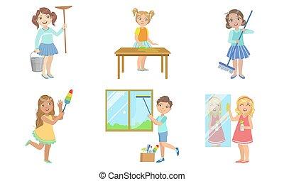 lästige arbeit, verschieden, kinder, knaben, satz, mädels, abbildung, portion, ihr, hausarbeit, vektor, eltern, putzen, daheim