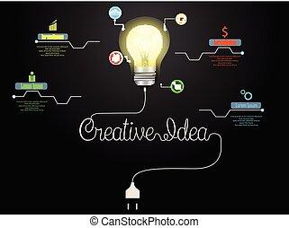 lätt, abstrakt, idé, skapande, infographic, lök