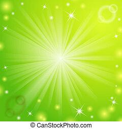 lätt, abstrakt, magi, grön, bakgrund.