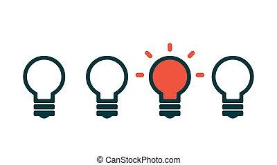 lätt, begrepp, idé, lök, skapande