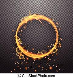 lätt, cirkel, design, verkan, lysande