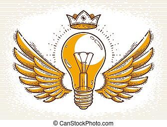 lätt, eller, linjär, toppmodern, bevingat, lök, begrepp, idé, ikon, logo, vektor, style., emblem, skapande