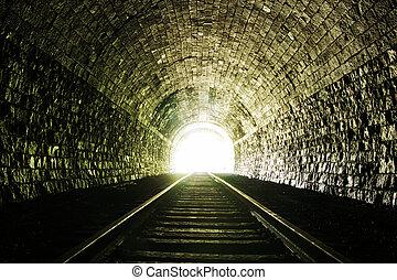 lätt, i sluten av, tunnel