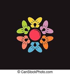 lätt, idé, skapande, lök, logo, cirkel, geometrisk
