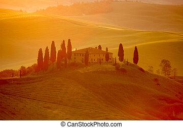lätt, italiensk villa, early-morning