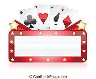 lätt, kasino, neon, illustration, underteckna