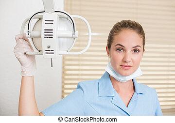 lätt, le, kamera, assistent, bredvid, dental