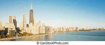 lätt, morgon, skyskrapor, synhåll, insjö, chicago, panorama...