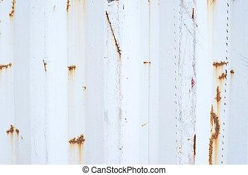 lätt, rostig, surface., lodlinje galon, på, väggen