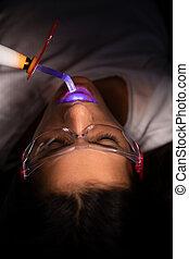 lätt, undersöka, klinik, tandläkare, botande, tålmodig, dental