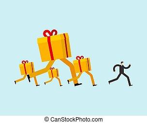 läufe, kasten, geschenk, man., geschenk, weihnachten, rennender , guy., abbildung, vektor, neu , nach, jahr