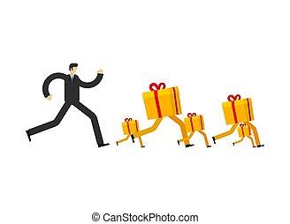 läufe, kerl, present., geschenk, mann, sale., rennender , weihnachten, abbildung, vektor, jahr, neu , weihnachten, box., nach