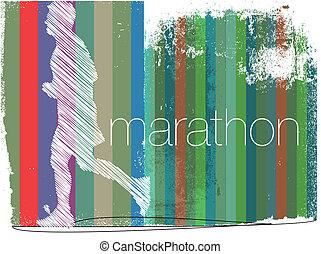 läufer, abstrakt, abbildung, hintergrund., vektor, marathon