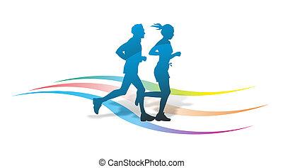 läufer, abstrakt, silhouette