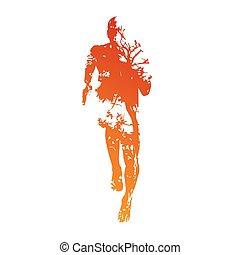 läufer, abstrakt, vektor
