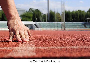 läufer, aktiv, rennbahn, beginnen