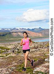 läufer, athlet, frauenlauf, natur