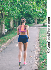 läufer, athlet, rennender , an, park., frau, fitness, jogging, workout, wohlfühlen, concept.