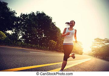 läufer, athlet, rennender , an, road., frau, fitness, sonnenaufgang, jogging, workout, wohlfühlen, concept.