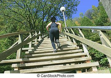 läufer, athlet, rennender , auf, treppe., frau, fitness, jogging, workout