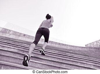 läufer, athlet, rennender , auf, treppe.