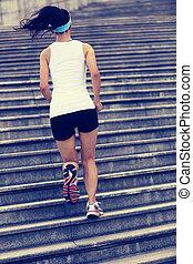 läufer, athlet, treppe, rennender