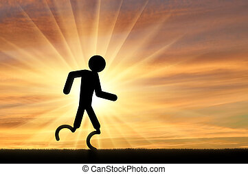 läufer, behinderten, prothetisches bein