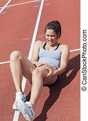 läufer, bein, leidensdruck, krampf