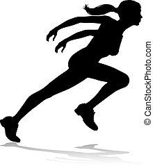 läufer, feld, rennsport, silhouette, spur