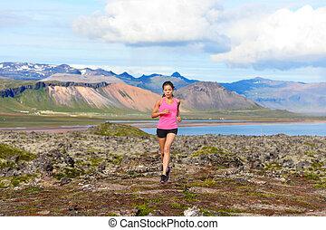 läufer, folgen lauf, frau, natur