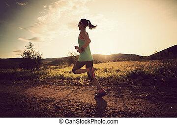 läufer, folgen lauf, frau, wald