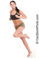 läufer, frauenlauf, anfall, fitness, sport, modell, jogging, lächeln glücklich, freigestellt, weiß, hintergrund