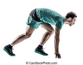läufer, freigestellt, bemannen lauf, jogger