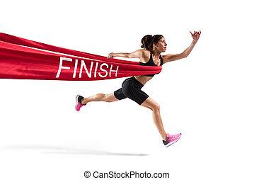 läufer, gewinner, linie, frau, appretur