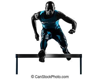 läufer, hürdenläufer, silhouette, mann