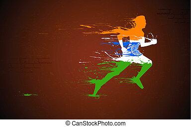 läufer, in, indische , trikolore
