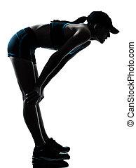 läufer, jogger, frau, atemlos, muede