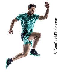 läufer, jogger, rennender , freigestellt, mann